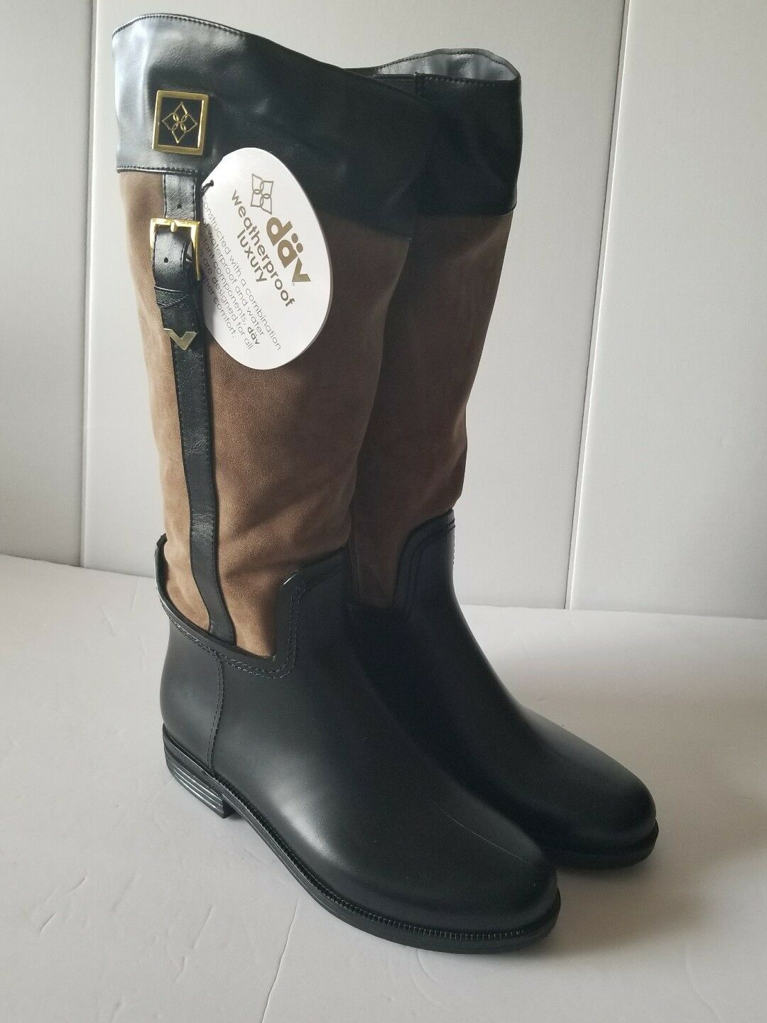 NEW WOMEN'S DAV BLACK BUCKLE COVENTRY SUEDE SUEDE SUEDE RAIN BOOTS SIZE 11 FITS A SIZE 10 eff0e7
