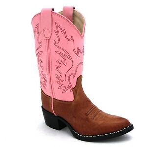 Old-West-Leather-Girl-Western-Cowboy-Cowgirl-Boots-Pink-9-10-11-12-13-1-2-3