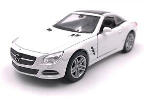 Maquette-de-Voiture-Mercedes-Benz-SL500-Blanc-Auto-Masstab-1-3-4-39-Licence