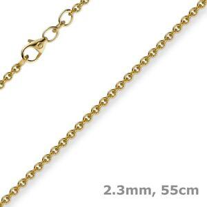 Gutherzig 2,3mm Kette Collier Rundankerkette Aus 750 Gold Gelbgold, 55cm Unisex, Goldkette