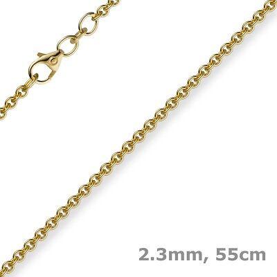 2,3mm Kette Collier Rundankerkette Aus 750 Gold Gelbgold, 55cm Unisex, Goldkette Kunden Zuerst