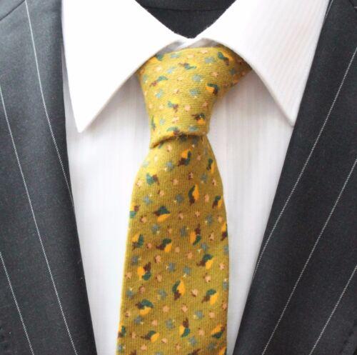 Cravate Cou Tie Slim moutarde qualité coton T6111