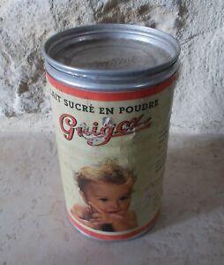 Boite-Metal-Ancienne-tole-GUIGOZ-lait-en-poudre-cuisine-France-en-fer-1957