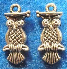 50Pcs  WHOLESALE OWL Tibetan Silver Graduation Wise Old Charms Pendants Q0258