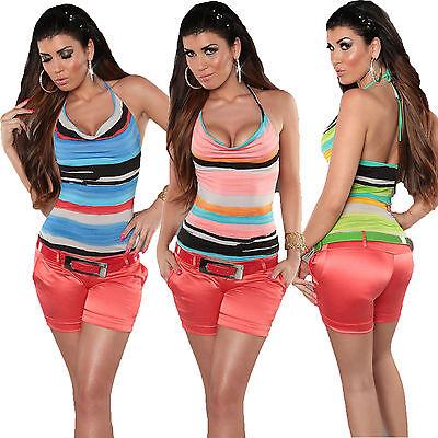 Damen Neckholder Top multicolor StreifenS 34 36 Shirt Necktop Mode Freizeit Club