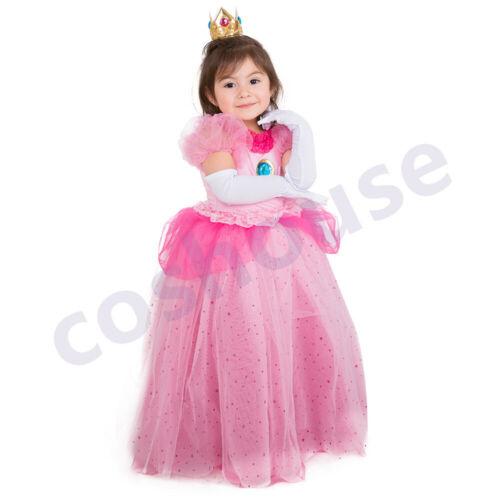 Crown Gloves Princess Peach Dress Child Girls Halloween Costume for Kids