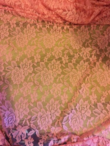 "3 MTR PINK LACE NET LYCRA STRETCH FABRIC...60/"" WIDE £10.49 SPECIAL OFFER"