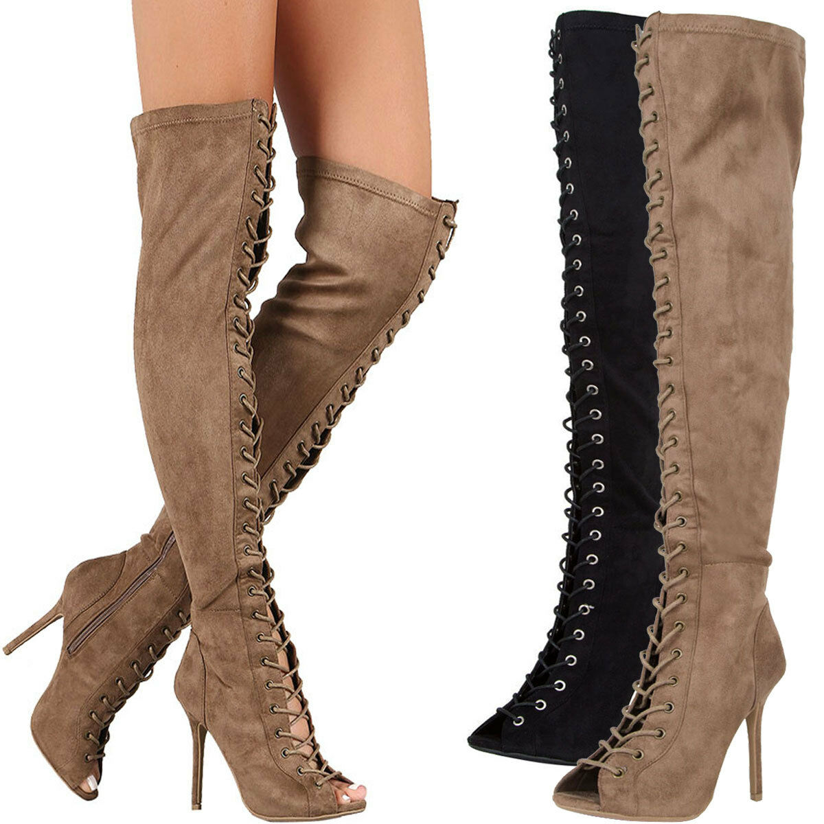 New Vegan Suede Peep Toe Lace Up Stiletto Heel Over The Knee High Gladiator Boot