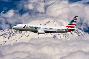 AMERICAN AIRLINES BOEING NEXT GENERATION 737-800 8x12 SILVER HALIDE PHOTO PRINT