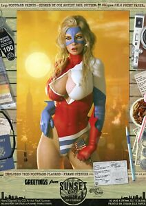 Ms-Victory-Miss-039-Sunset-City-039-Sexy-Comic-Series-A3-Hand-Signed-Comic-Print-DC