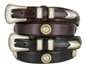 Gold Horse Head - Oil Tanned Concho Leather Casual Ranger Belt