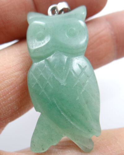 43*20MM Natural Hand-carved Owl Mixed agate PENDANT GEMS Jewelry making necklace