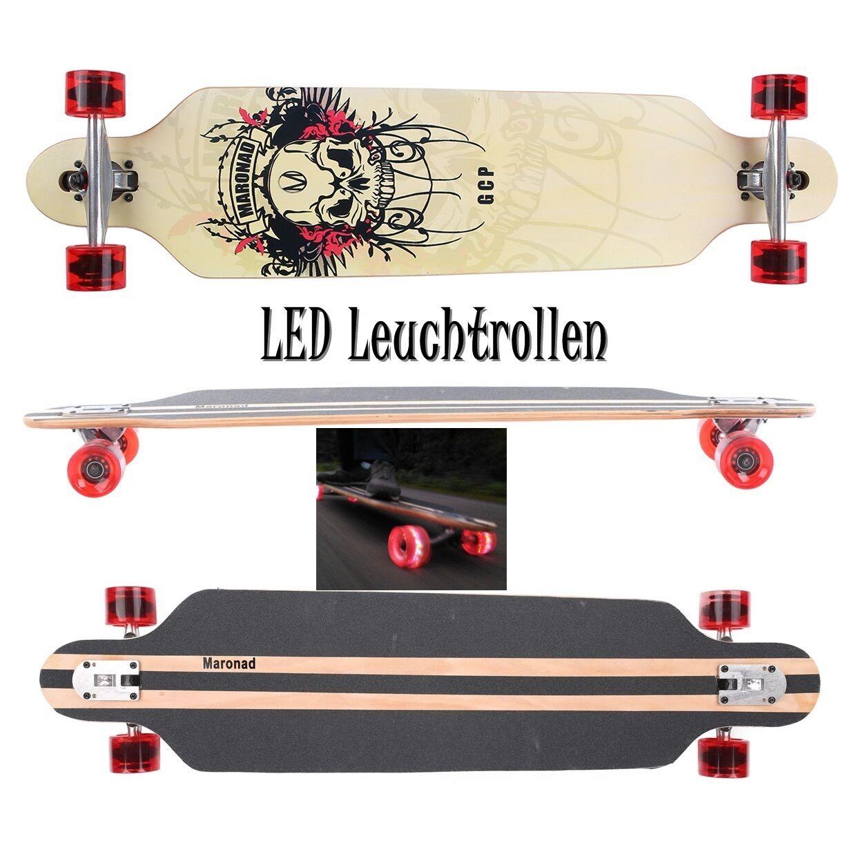MARONAD Profi Longboard Skateboard Skateboard Skateboard ABEC 11 (+) LED Leuchtrolllen Haltegriff 1b0541