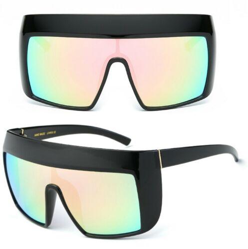 Womens Oversized Large Frame Shield Mono Lens Chunky Sunglasses UV400