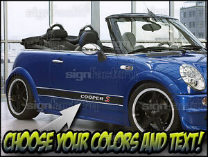 Mini Cooper Colors >> Details About 2001 And Up Mini Cooper Custom Vinyl Decal Graphics 3 Color Side Stripes