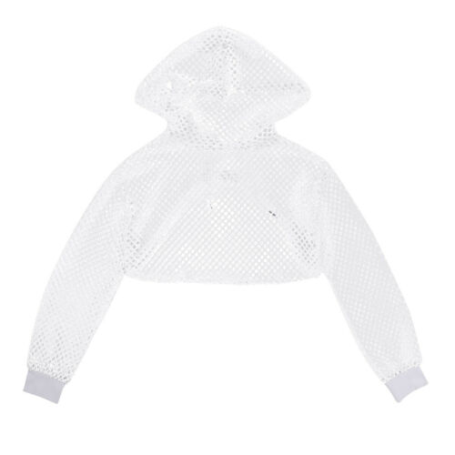 US Women Mesh Fish Net Hooded Crop Top T-Shirt Long Sleeve Blouse Sweater Jumper