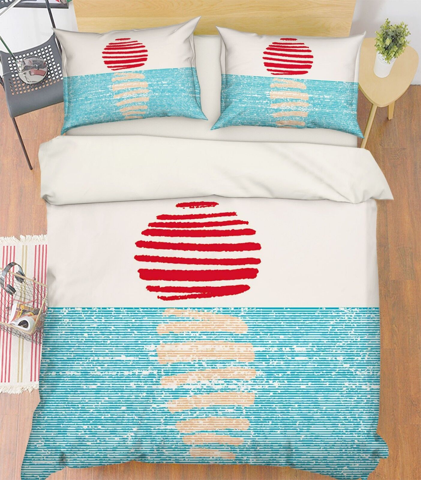 3D Sun Sea Paint 577 Bed Pillowcases Quilt Duvet Cover Set Single King UK Summer