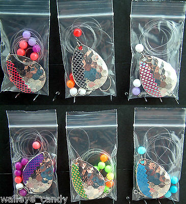 1 set 6 Copper #5 Colorado Lake Erie Walleye Candy Worm Harness Foil//Scale