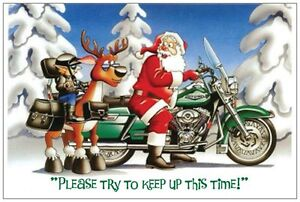 UR Words Motorcycle Santa vs. Reindeer Funny 5x7 CUSTOM Christmas Holiday CARDS
