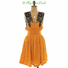 $108 FREE PEOPLE 'WALKING THROUGH DREAMS' FIT & FLARE DRESS YELLOW LARGE B31