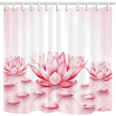 Spa Pink Lotus Flower Bathroom Shower Curtain Waterproof Fabric 71