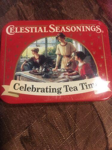PRE-OWNED * Celestial Seasonings CELEBRATING TEA TIME Red Multi-Colors Tea Tin *