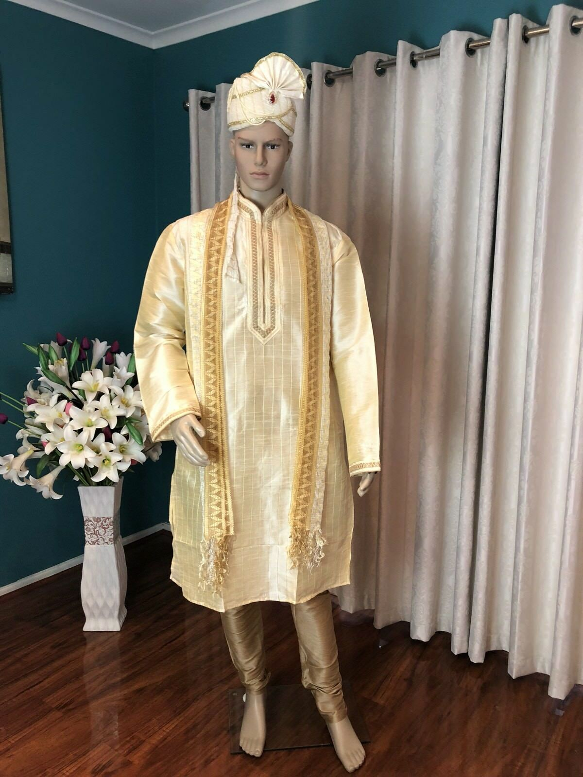 "48"" XXXL Sherwani Suit Indian Bollywood  Herren Kurtha Cream Gold Outfit Kurta HH27"