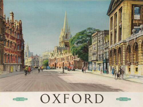 PRINT POSTER TRAVEL OXFORD ENGLAND BRITISH RAILWAYS STREET CATHEDRAL NOFL1129