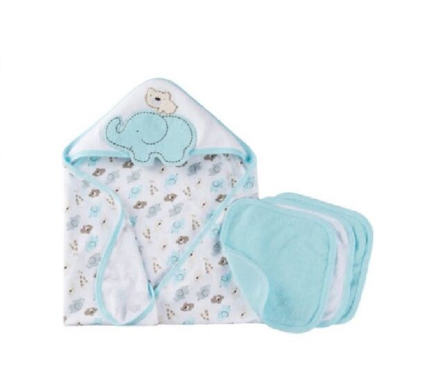 114a49952442 Gerber Unisex 4-piece Bear elephant Light Aqua Terry Bath Set Baby ...