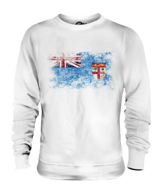 FIJI DISTRESSED FLAG UNISEX SWEATER TOP VITI FOOTBALL FIJIAN GIFT SHIRT