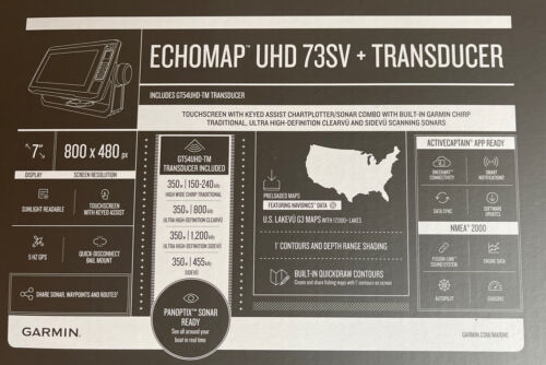 Garmin ECHOMAP UHD 73sv Chartplotter//Fishfinder with GT54UHD-TM 010-02338-01