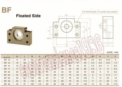 1 Anti-backlas RM2505-300 mm ballscrews /& BF20//BF20 /& 1 pcs 12*17 mm couplering
