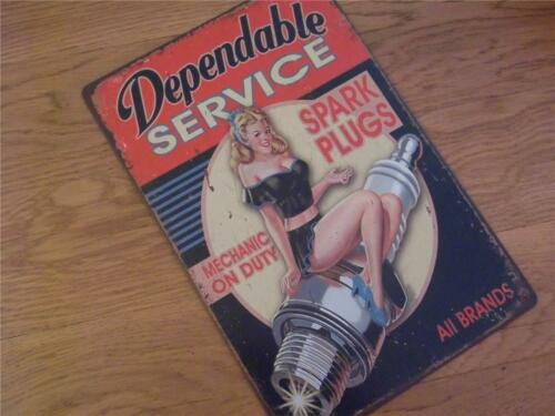 VINTAGE METAL ADVERTISING SIGN GARAGE SERVICE WALL PLAQUE GLAMOUR GIRL PIN-UP