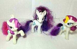 """G4 My Little Pony RARITY 3"""" brushable figure toy Friendship Is Magic lot of 3"""