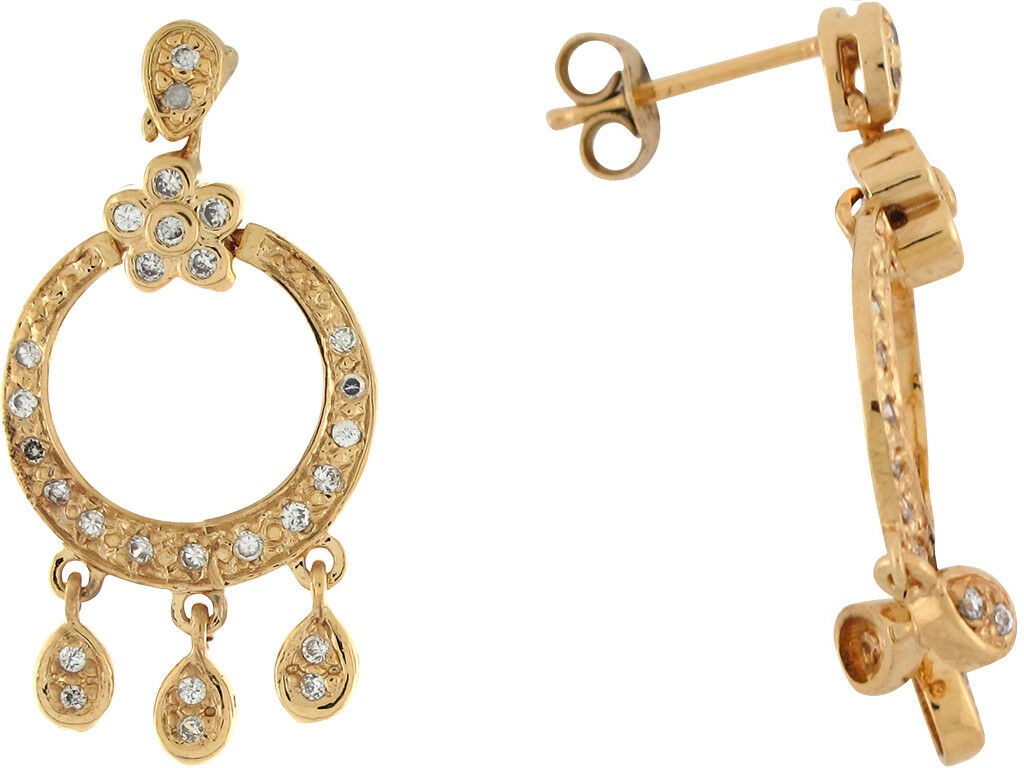10k or 14k Yellow gold White CZ Small Dangling Hoops Post Earrings