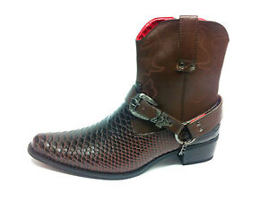 Stivali in pelle di serpente alla caviglia, stile cowboy, da