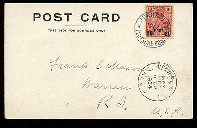 Germany LEVANT Ottoman Empire JERUSALEM post office 20para 1904 PPC to USA