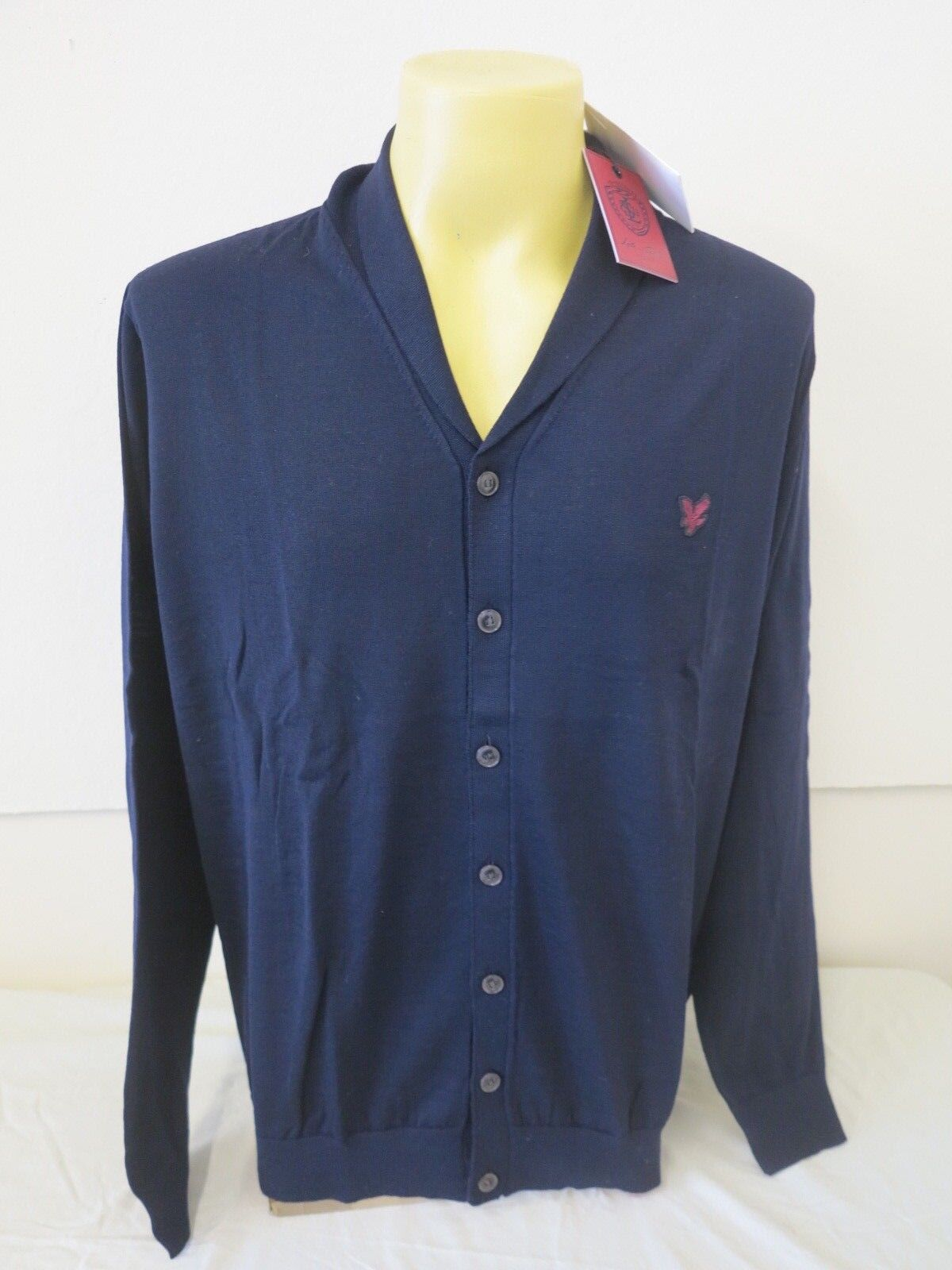 LYLE & SCOTT HERITAGE SHAWL COLLAR CARD NAVY MADE IN ITALY XL 100% EXTRAFINE 47