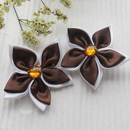 20pcs 2tone Ribbon Flowers Bow Bauhinia Appliques Craft//Wedding Lots Upick A1027