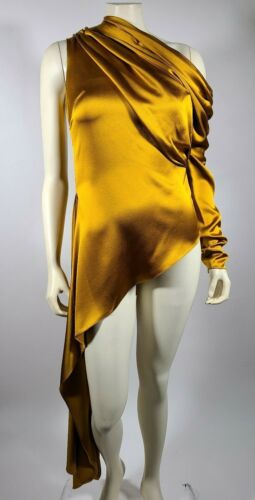 MONSE Mustard Yellow Silk One Shoulder Sleeve Top
