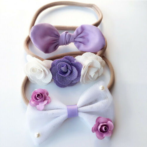 3Pcs Cute Kids Girls Baby Toddler Flower Bowknot Headband Hair Band Headwear