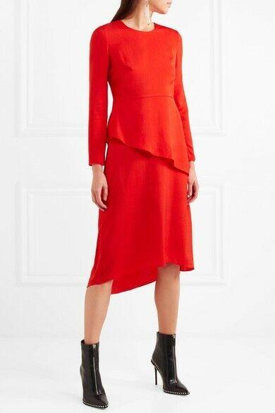 NWT Maje Women's Woman Remania Ruffled Satin-crepe Red Dress Size 3