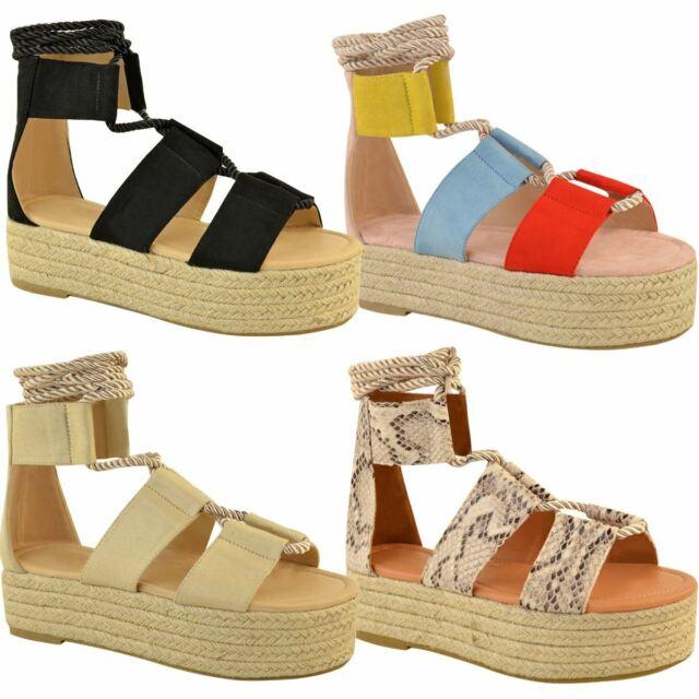 3109b8ea057 Womens Ladies Flatforms Wedge Sandals Flat Lace Up Wide Strap Summer  Espadrilles