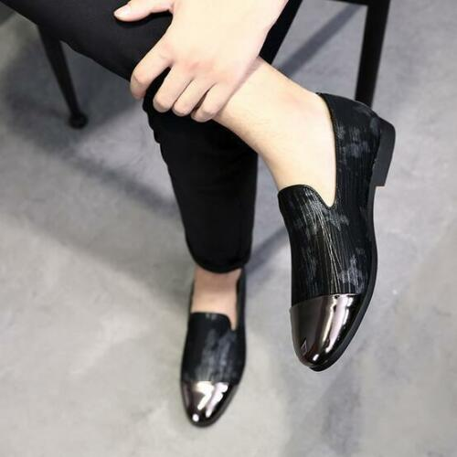 Details about  /Men Korean Fashion Stylish Metal Toe Printed Slip On  Loafers Dress Shoes @BT02