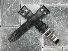 21mm Leather Strap Deployment Buckle Black Watch Band SET IWC Top Gun PILOT 21
