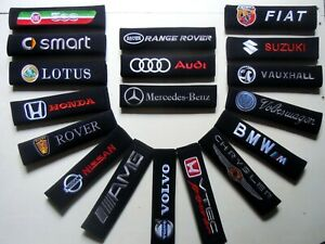 Seat Belt Pads CHOICE OF 50 Car Logos All Makes Models Cloth or Carbon Pads