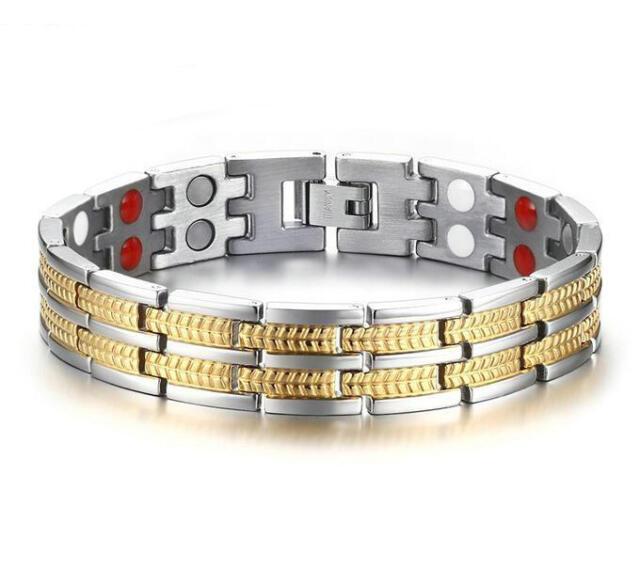 Mens Gold Plating Titanium Steel Bracelet BOYFRIEND Birthday Magnetic  Bangle 8