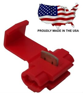 100 Red Quick Splice Tap Wire Terminal Connector 18-22 AWG Gauge - USA - TQ18