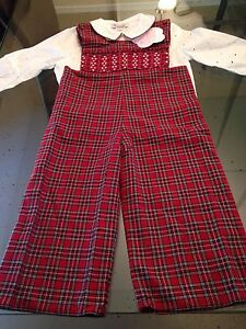 Handmade Boutique Bought Embroidered Red Plaid Pant Suit W// Shirt Size 2T NWT