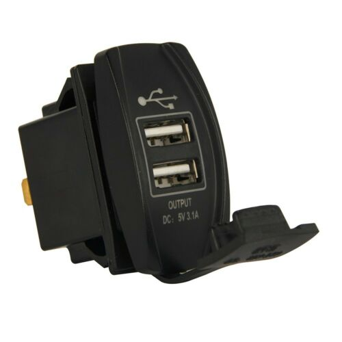 Blue LED Dual USB Socket Power Phone Charger For Car Motorcycle Boat RV UTV ATV